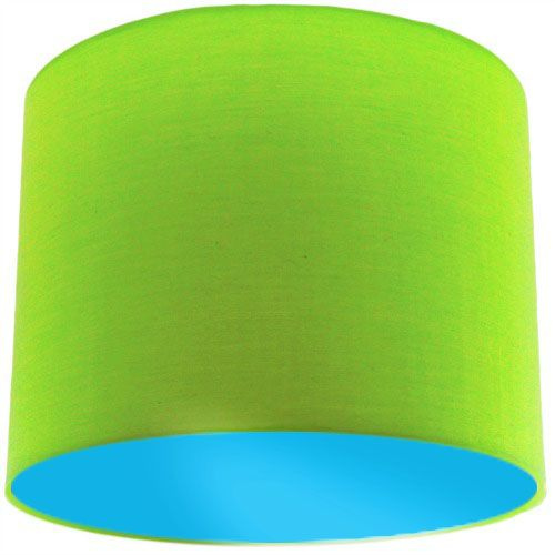 Lime Green Lamp Shade with Light Blue Lining