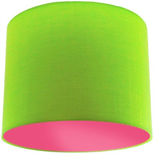 Lime Green Lamp Shade with Pink Rose Lining