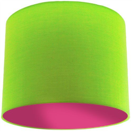 Lime Green Lamp Shade with Violet Lining