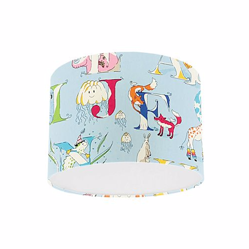 Little Sanderson Abracazoo Alphabet Zoo Powder Blue Fabric Drum Ceiling Pendant Light Shade