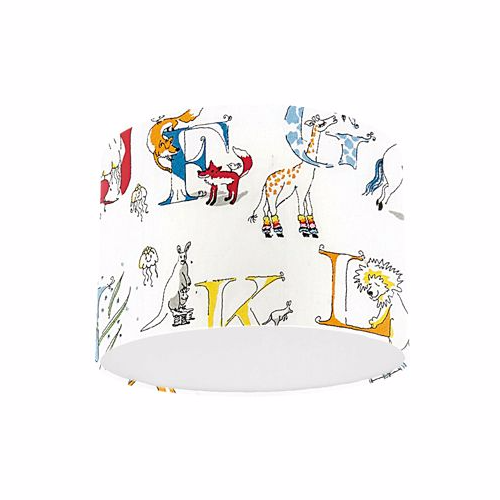 Little Sanderson Abracazoo Alphabet Zoo Rainbow Brights Embroidery Fabric Drum Ceiling Pendant Light Shade