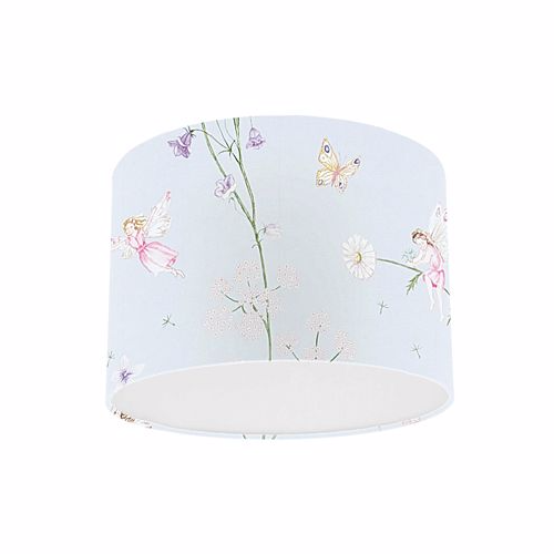 Little Sanderson Abracazoo Fairyland Powder Blue Fabric Drum Ceiling Pendant Light Shade