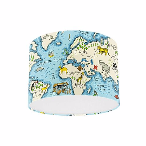 Little Sanderson Abracazoo Treasure Map Sea Blue Fabric Drum Ceiling Pendant Light Shade