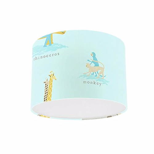 Little Sanderson Abracazoo Two by Two Powder Blue Fabric Drum Ceiling Pendant Light Shade