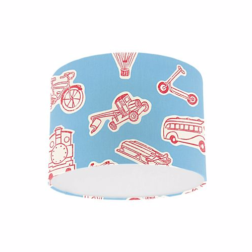Little Sanderson Abracazoo Vrooom Sky Blue & Red Fabric Drum Ceiling Pendant Light Shade