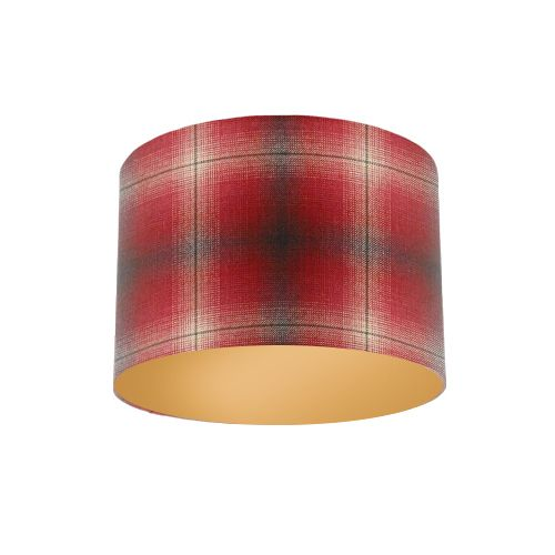 Osborne And Little Corniche Fitzgerald Cranberry Red Tartan Fabric Drum Lampshade With Metallic Gold Lining