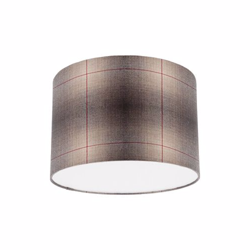 Osborne and Little Corniche Fitzgerald Mocha Tartan Fabric Drum Lampshade