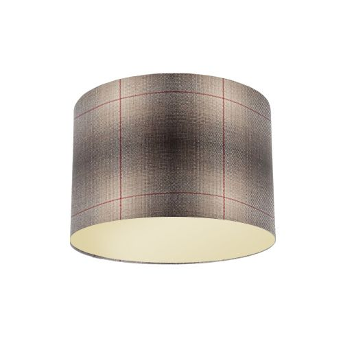 Osborne and Little Corniche Fitzgerald Mocha Tartan Fabric Drum Lampshade with Metallic Champagne Lining