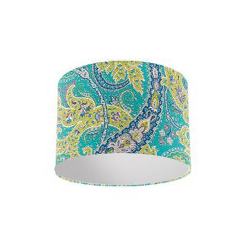 Osborne and Little Pasha Patara Jade / Peacock / Lime Drum Lamp Shade with Silver Lining