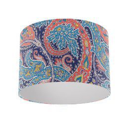 Osborne and Little Pasha Patara Navy / Cobalt / Coral Drum Lamp Shade with Silver