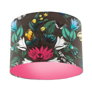 Osborne and Little Pasha Tulipan Multi / Cacao Butterfly Drum Lamp Shade with Pink Rose Lining