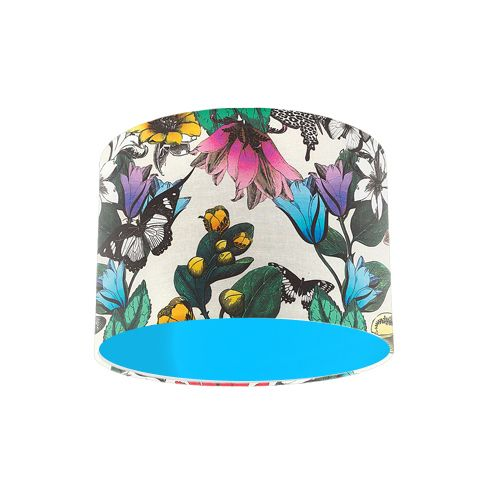 Osborne and Little Pasha Tulipan Multi / Ivory Butterfly Drum Lamp Shade with Light Blue Lining