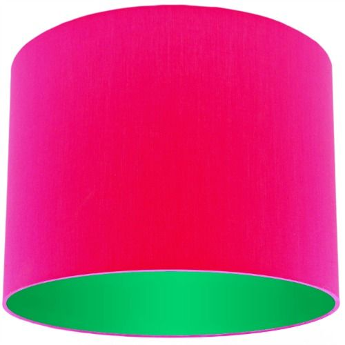 Pink lamp shade with apple green lining aloadofball Choice Image