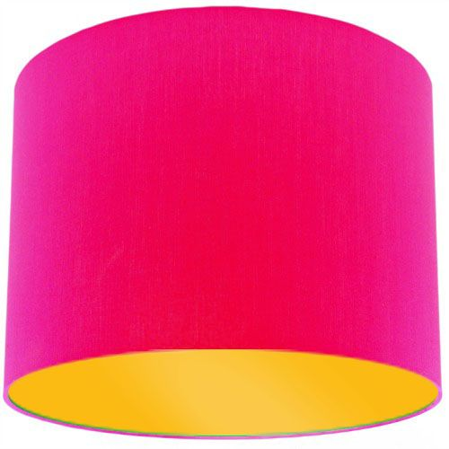 Pink lamp shade with bright yellow lining aloadofball Gallery