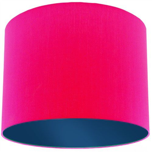 Pink Lamp Shade with Dark Blue Lining