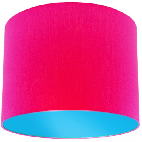 Pink Lamp Shade with Light Blue Lining