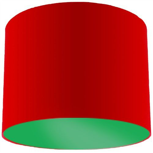 Red Lamp Shade with Apple Green Lining