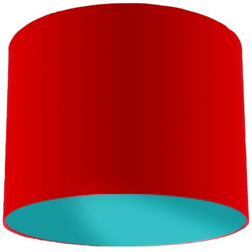Red Lamp Shade with Aqua Green Lining