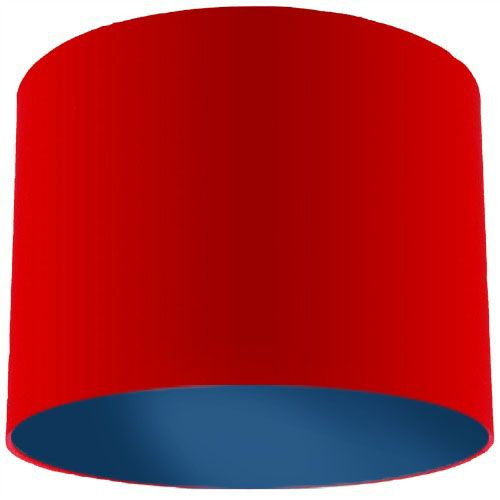 Red Lamp Shade with Dark Blue Lining