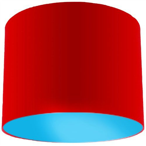 Red Lamp Shade with Light Blue Lining