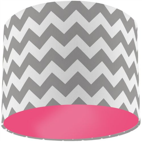 Riley Blake Grey Chevron Zig Zag Drum Lamp Shade with Pink Rose Lining