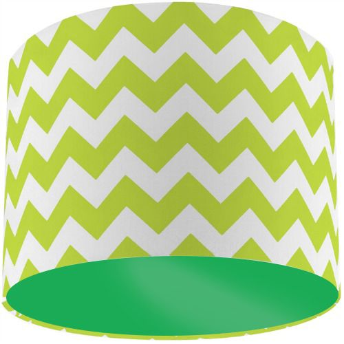 Riley Blake Lime Green Chevron Zig Zag Drum Lamp Shade with Apple Green Lining