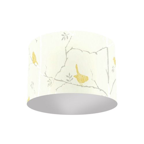 Sanderson Dawn Chorus Linden Slate Green Bird Fabric Drum Lamp Shade with Silver Lining