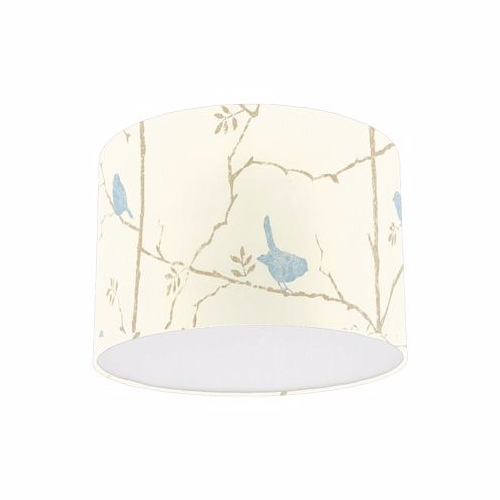 Sanderson Dawn Chorus Mineral Blue Bird Fabric Drum Lamp Shade