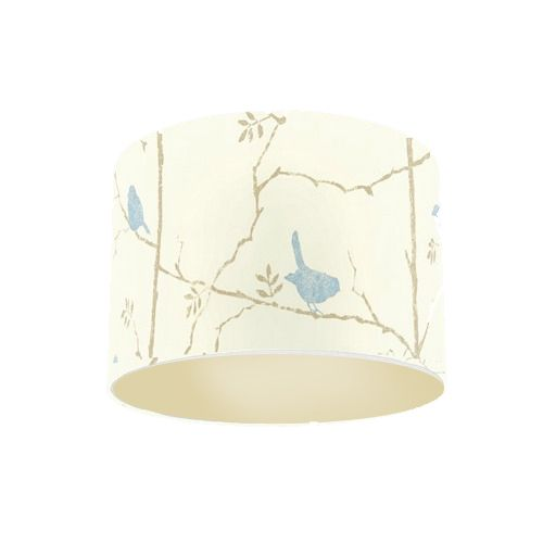 Sanderson Dawn Chorus Mineral Blue Bird Fabric Drum Lamp Shade with Champagne Lining