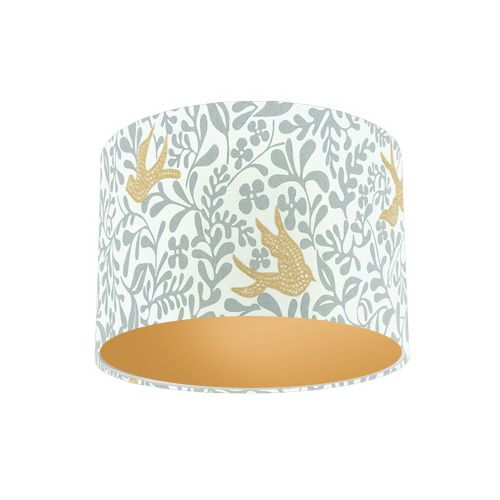 Sanderson Papavera Larksong Dove / Honey Embroidered Fabric Drum Lamp Shade with Gold Lining