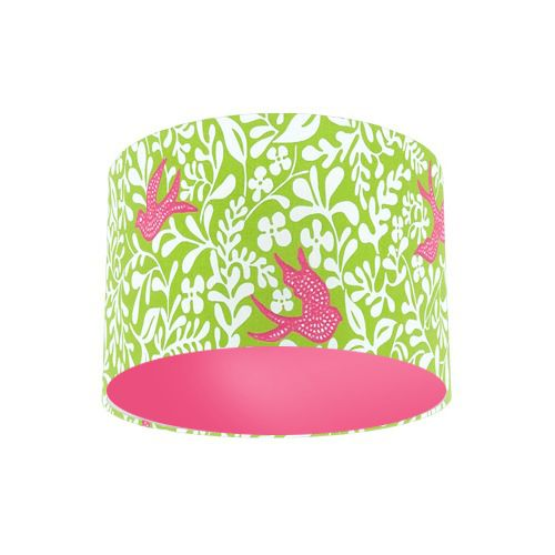 Sanderson Papavera Larksong Lime / Cerise Embroidered Fabric Drum Lamp Shade with Pink Rose Lining