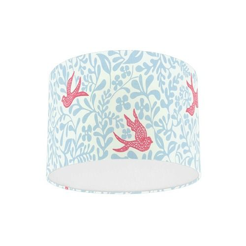 Sanderson Papavera Larksong Powder Blue / Pink Embroidered Fabric Drum Lampshade