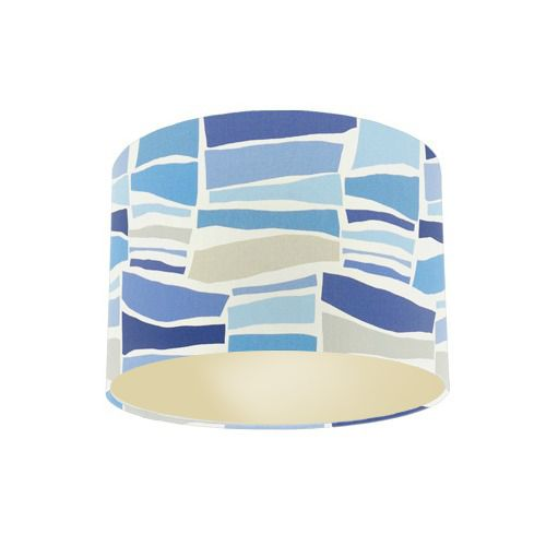 Sanderson Papavera Milla Marine / Multi Fabric Drum Lamp Shade with Champagne Lining