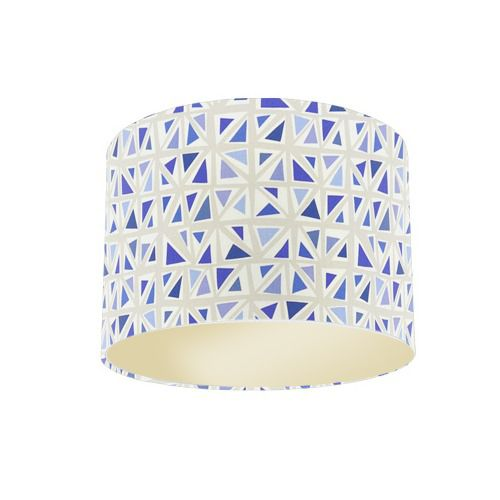 Sanderson Papavera Mosaica Marine / Multi Fabric Drum Lamp Shade with Champagne Lining