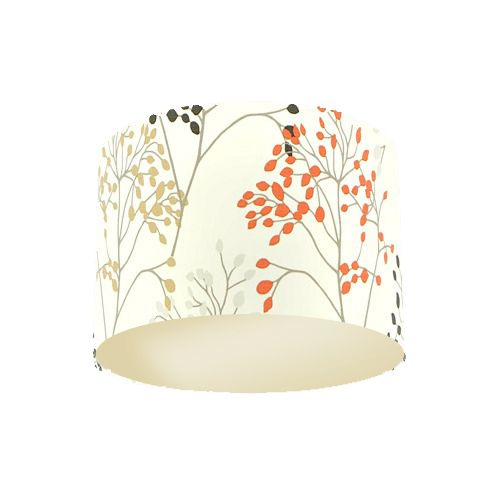 Sanderson Pippin Charcoal Coral Fabric Drum Lamp Shade with Champagne Lining