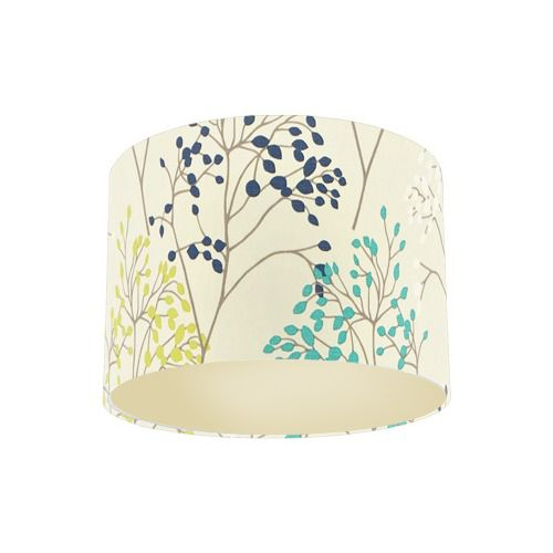 Sanderson Pippin Teal Linden Fabric Drum Lamp Shade with Champagne Lining