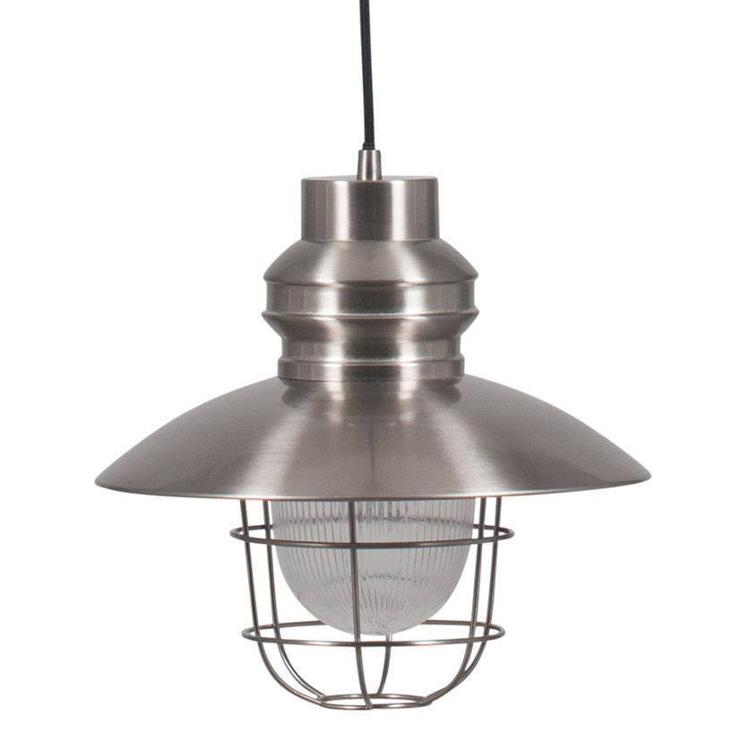 Satin Nickel Metal Electrified Ceiling Pendant Light With Cage