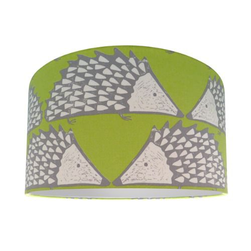 Scion Spike The Hedgehog Kiwi Fabric Drum Lamp Shade with Silver Lining