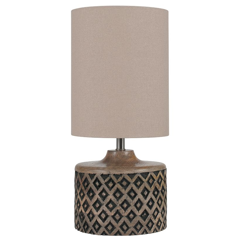 Short wooden diamond table lamp aloadofball Gallery