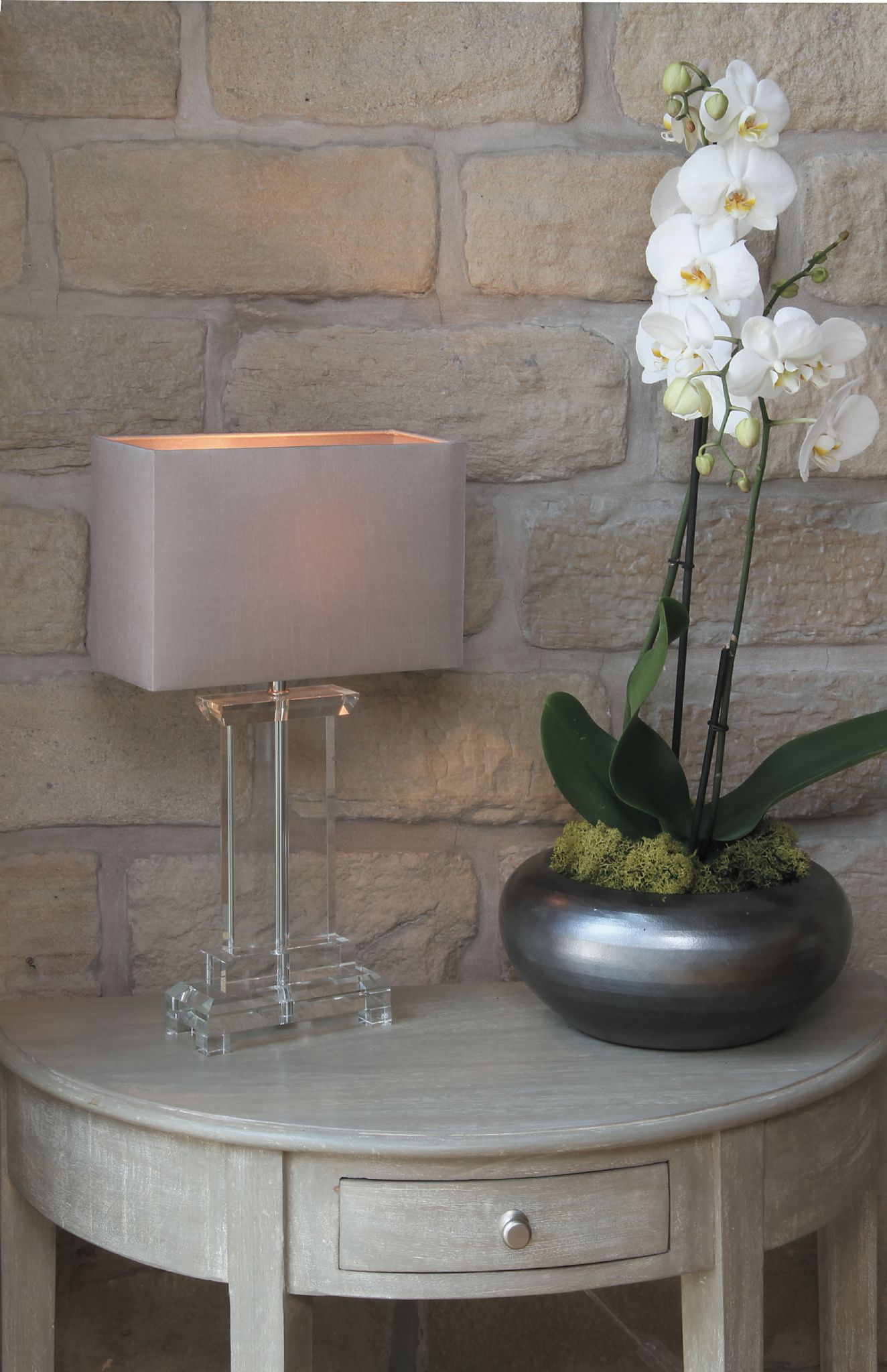 Small Rectangle Crystal Table Lamp With Stone Shade