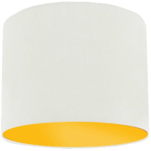 White Lamp Shade with Bright Yellow Lining