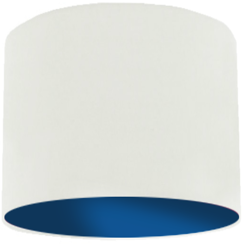 White Lamp Shade with Dark Blue Lining
