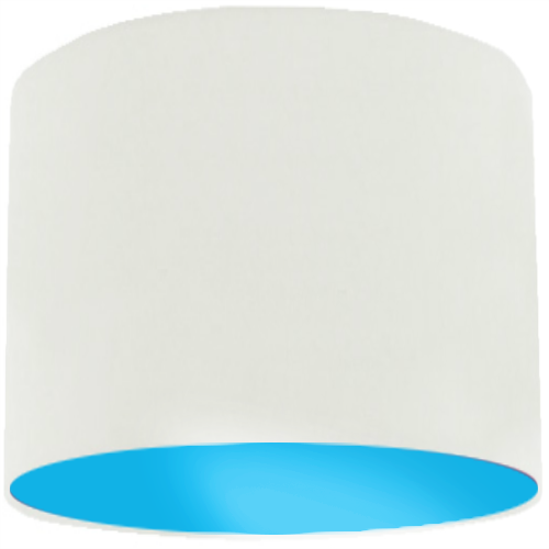 White Lamp Shade with Light Blue Lining