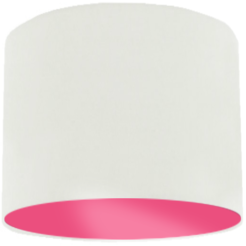 White Lamp Shade with Pink Rose Lining