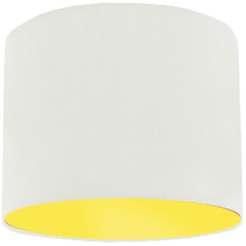 White Lamp Shade with Primrose Lining
