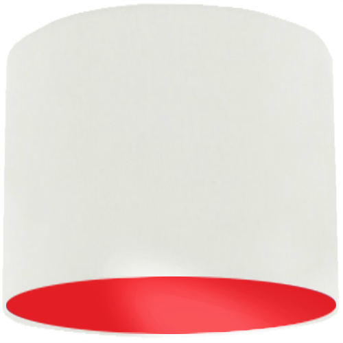 White Lamp Shade with Red Lining