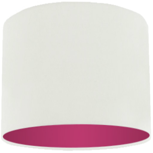 White Lamp Shade with Violet Lining