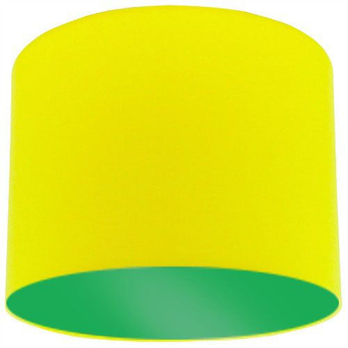 Yellow fabric lamp shade with apple green lining aloadofball Images