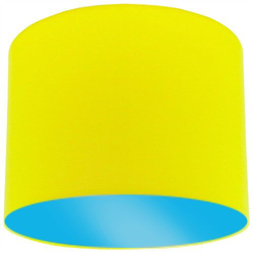 Yellow Lamp Shade with Light Blue Lining